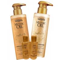 L'oreal Mythic Oil Sparkling shampoo 250 ml ja hoitoaine 190 ml sekä matkakoot 75 ml