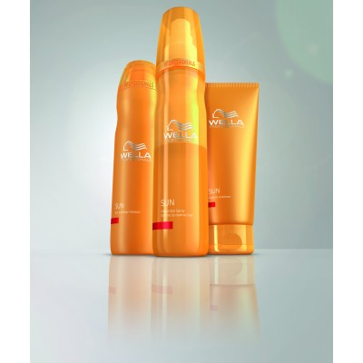 Wellan aurinkopaketti - sisältää shampoon 250 ml, poishuuhdeltavan hoitoaineen 200 ml sekä UV-suojasuihkeen 200 ml