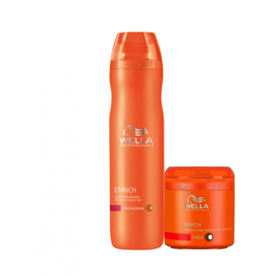 Wella Professional Care Enrich Shampoo Coarse 250 ml ja Enrich Mask Coarse  lahjapussukassa